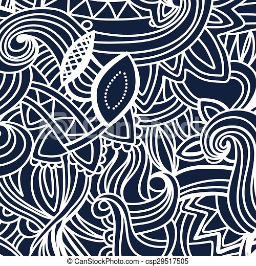 White Pattern Doodles - Decorative Sketchy Notebook Design- Hand-Drawn Vector Illustration Background. - csp29517505