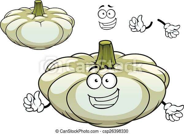 White pattypan squash vegetable cartoon character - csp26398330