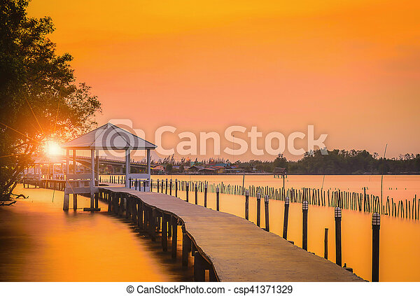 White Pavilion near the seaside at sunset in Thailand. - csp41371329
