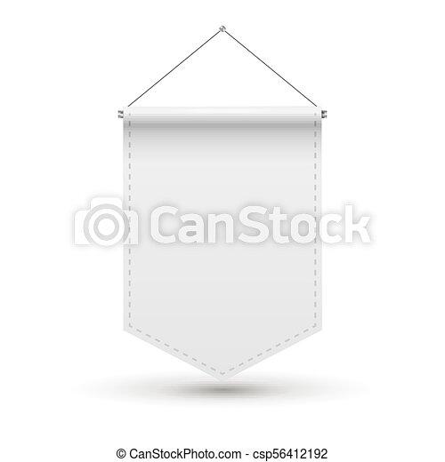 White Pennant flag award banner  Blank pennant design template mockup   Empty space advertising