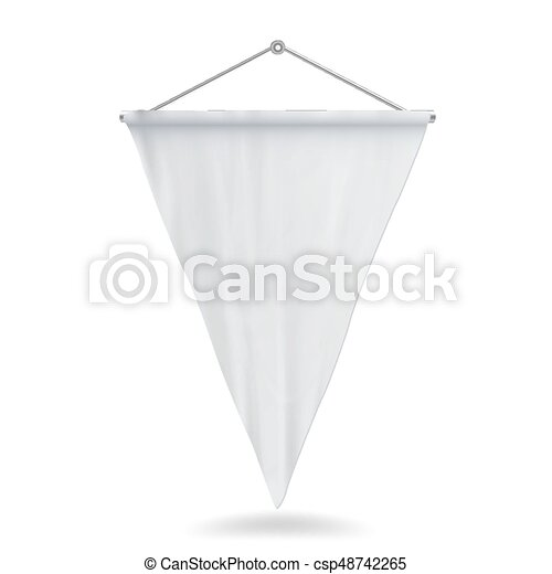 Pennant Template | White Pennant Template Vector Illustration Empty 3d Pennant Mock Up