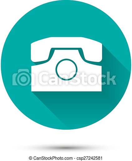 White phone icon on green background with shadow - csp27242581