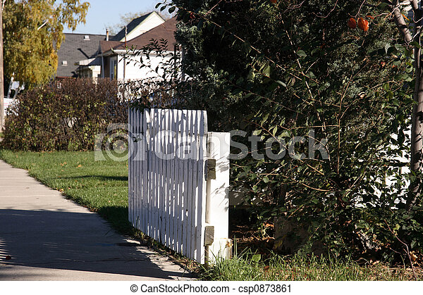 White picket fence in fro - csp0873861