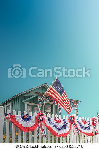 White Picket Fence Patriotic USA Home - csp64553718