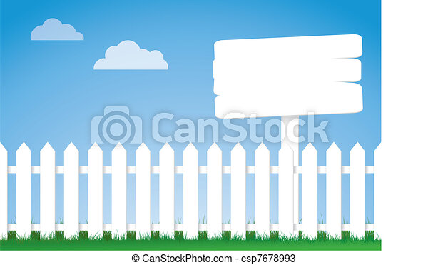 white picket fence with a sign - csp7678993