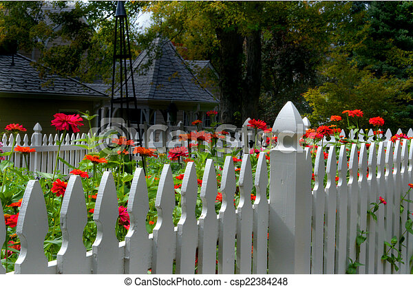 White picket fence with flowers a white picket fence with flowers white picket fence with flowers csp22384248 mightylinksfo