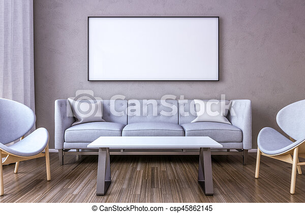 White Picture Frame On The Wall In The Living Room. 3D Render.   Csp45862145