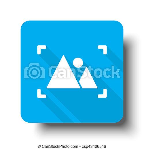 White Picture icon on blue web button - csp43406546