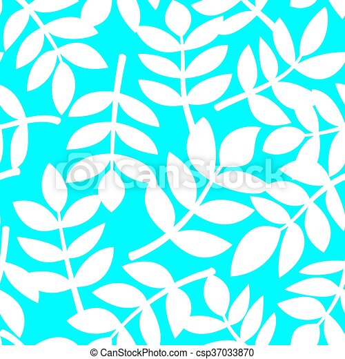 White plant leaves, vector seamless pattern - csp37033870