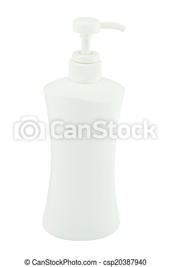 White plastic bottles for cosmetic creams, lotions, shampoo and gels with colored caps - csp20387940