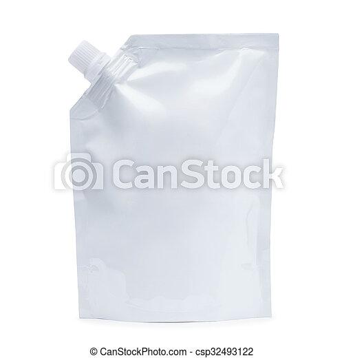 White plastic doy-pack - csp32493122