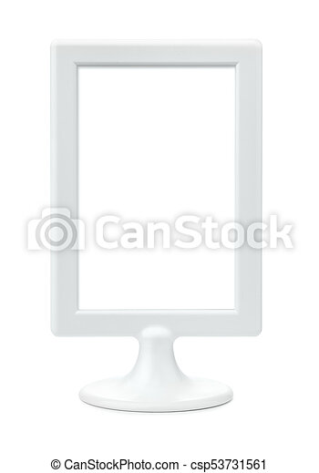 White plastic empty picture frame stand. Front view of white plastic ...