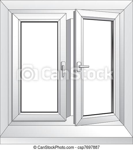 white plastic window - csp7697887