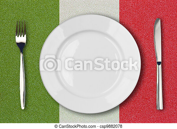 White plate, fork and knife top view on italian flag plastic table - csp9882078