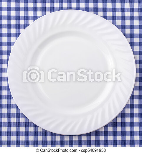 White Plate On Blue And White Checkered Fabric Tablecloth Background.    Csp54091958