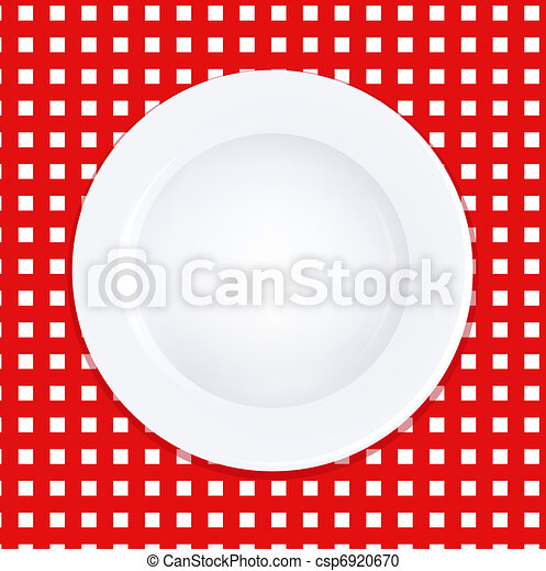 White Plate On Checkered Tablecloth - csp6920670