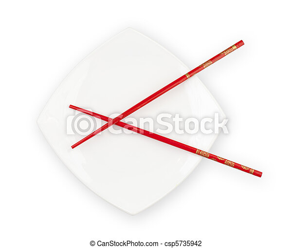 White plate with red chopsticks isolated included - csp5735942