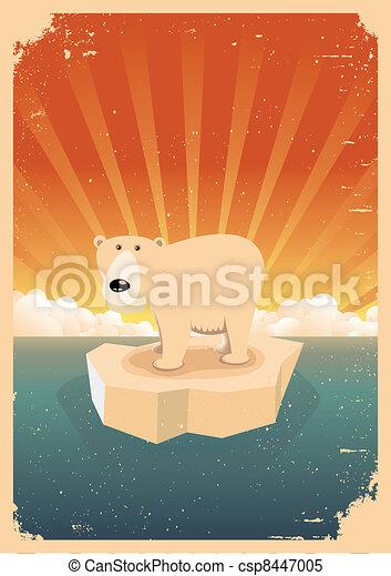 White Polar Bear Vintage Grunge Poster - csp8447005