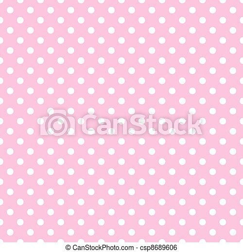 White Polka Dots on Pale Pink - csp8689606