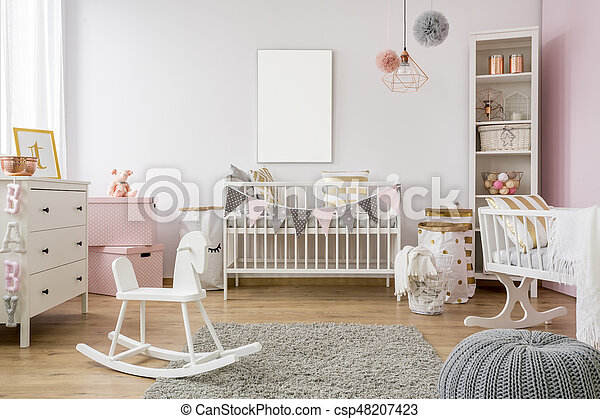 Poster Babykamer Pastel : White poster mockup over crib in pastel baby room.