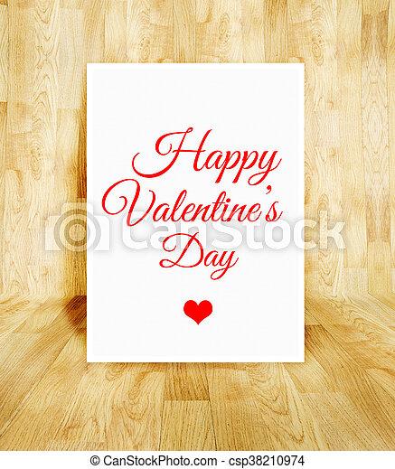white poster with Happy Valentine's day word in wood parquet room, Valentine concept. - csp38210974
