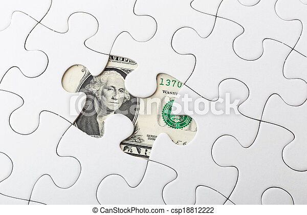 White puzzle and US banknote - csp18812222