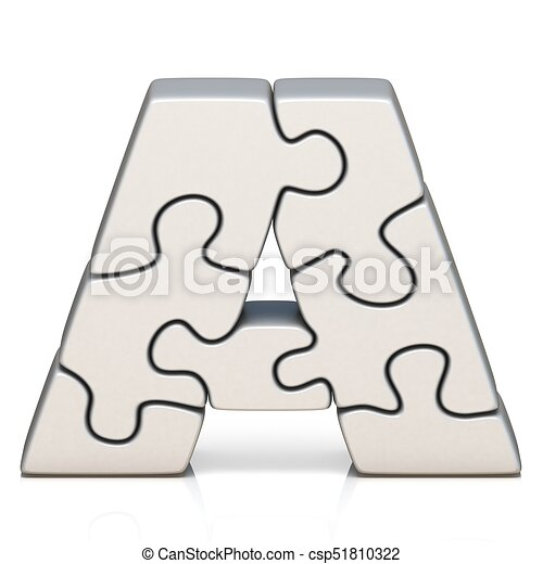 White Puzzle Jigsaw Letter A 3D