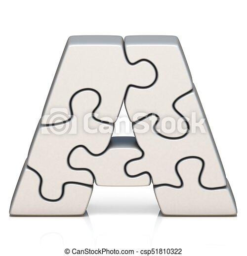 White Puzzle Jigsaw Letter A 3D