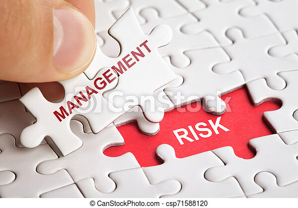 White puzzle with word RISK and MANAGEMENT - csp71588120