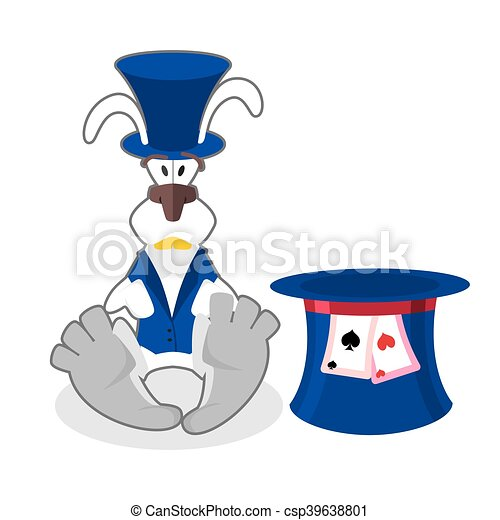 White rabbit in blue hat. bunny in waistcoat. Cylinder is Mad Hatter. Illustration for Alice in Wonderland. - csp39638801