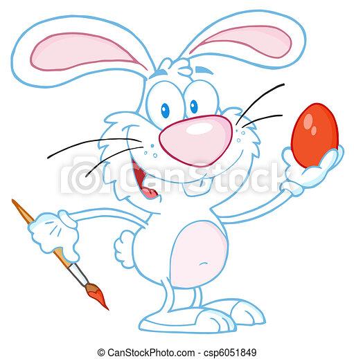 White Rabbit Painting Easter Egg - csp6051849