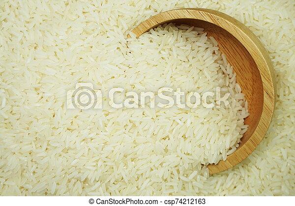 white raw Thai jasmine rice - csp74212163
