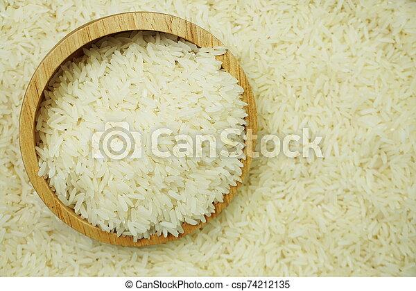 white raw Thai jasmine rice - csp74212135