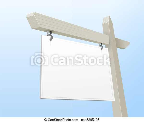 White Real Estate Sign - csp8395105