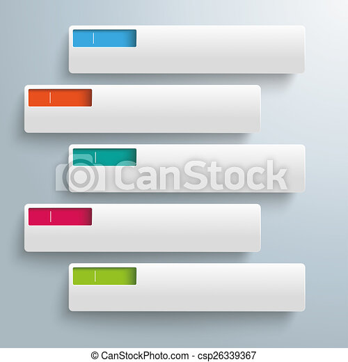 White rectangles colored holes 5 options . White ...