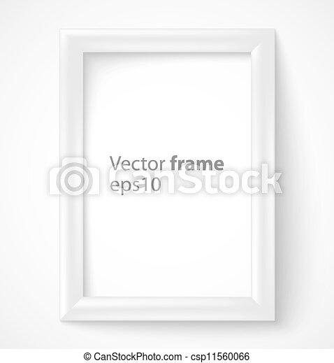White rectangular 3d photo frame with shadow. vector illustration.