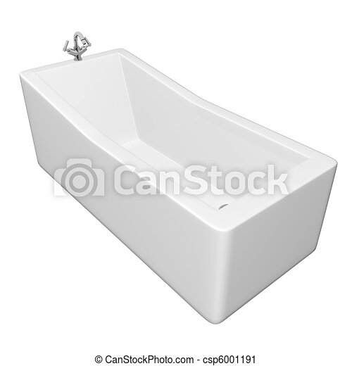 White rectangular bathtub with stainless steel fixtures, isolated against a white background - csp6001191