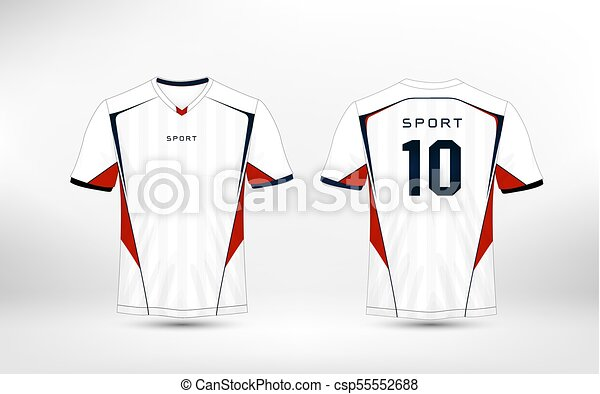 594674ba White, Red And Blue Pattern Sport Football Kits, Jersey, T-Shirt Design  Template