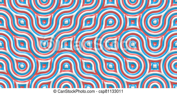 White Red Blue Seamless Truchet Tilling Background. Geometric Mosaic Connections Texture. Tile Circles Labyrinth Backdrop. - csp81133011