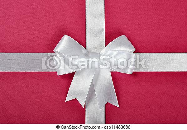 White ribbon bow - csp11483686