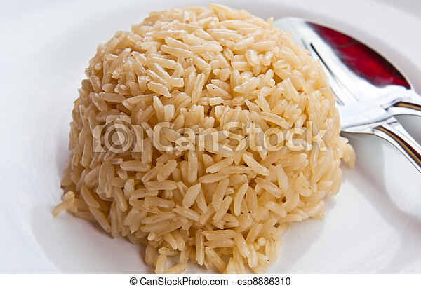 White rice on the plate - csp8886310