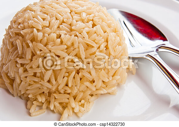White rice on the plate - csp14322730