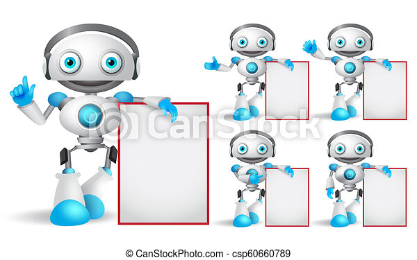 White robot vector character set standing while holding empty white board