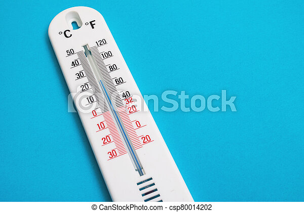 White room thermometer on a blue background - csp80014202