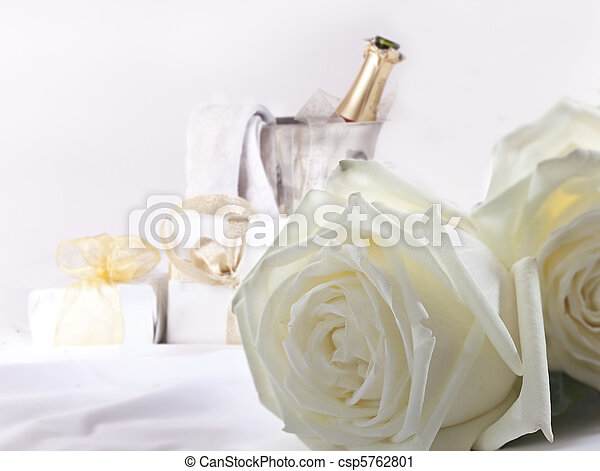 White roses and champagne - csp5762801