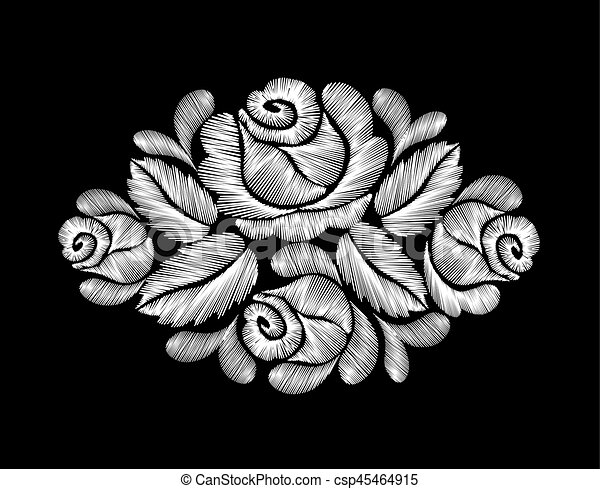 White Roses Embroidery On Black Background Ethnic Flowers Neck Line
