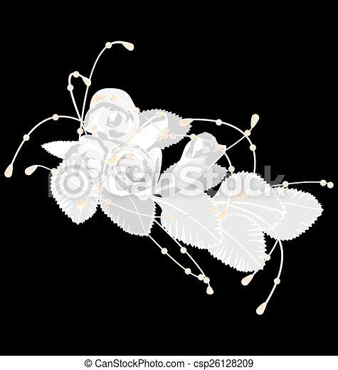 White roses isolated on black - csp26128209
