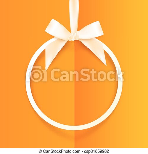 White round hanging frame with silky bow and ribbon  on orange background - csp31859982