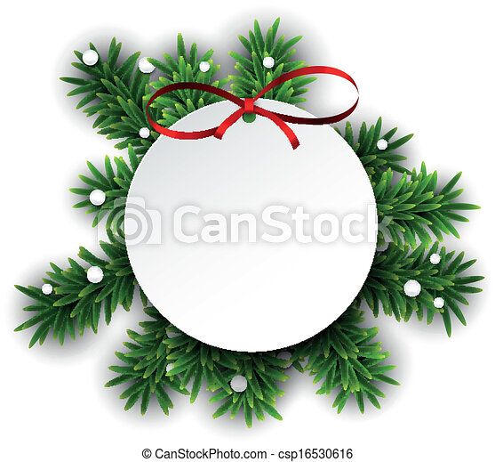 White round paper christmas card .  - csp16530616