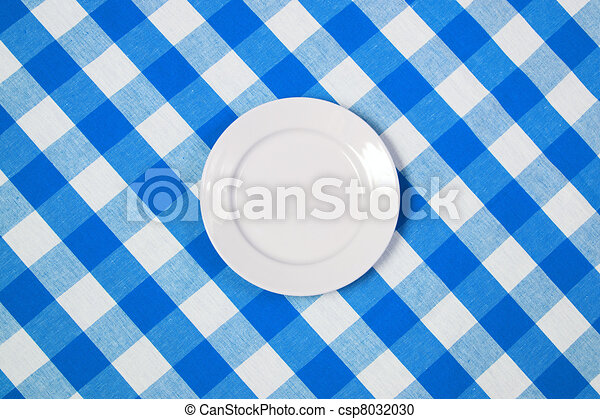 White Round Plate On Blue Checked Tablecloth   Csp8032030